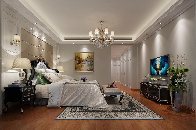 欧式三居室装修卧室装潢图