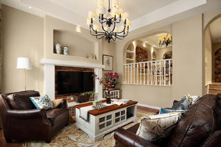美式复式别墅装修客厅效果图