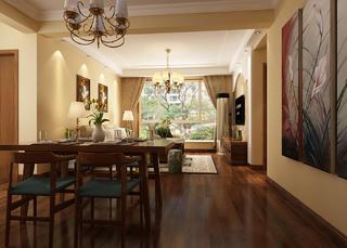 美式清新三居装修客餐厅欣赏图