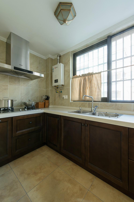 美式复式装修厨房实景图