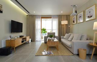 日式三居装修客厅效果图