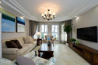 160平美式装修客厅效果图
