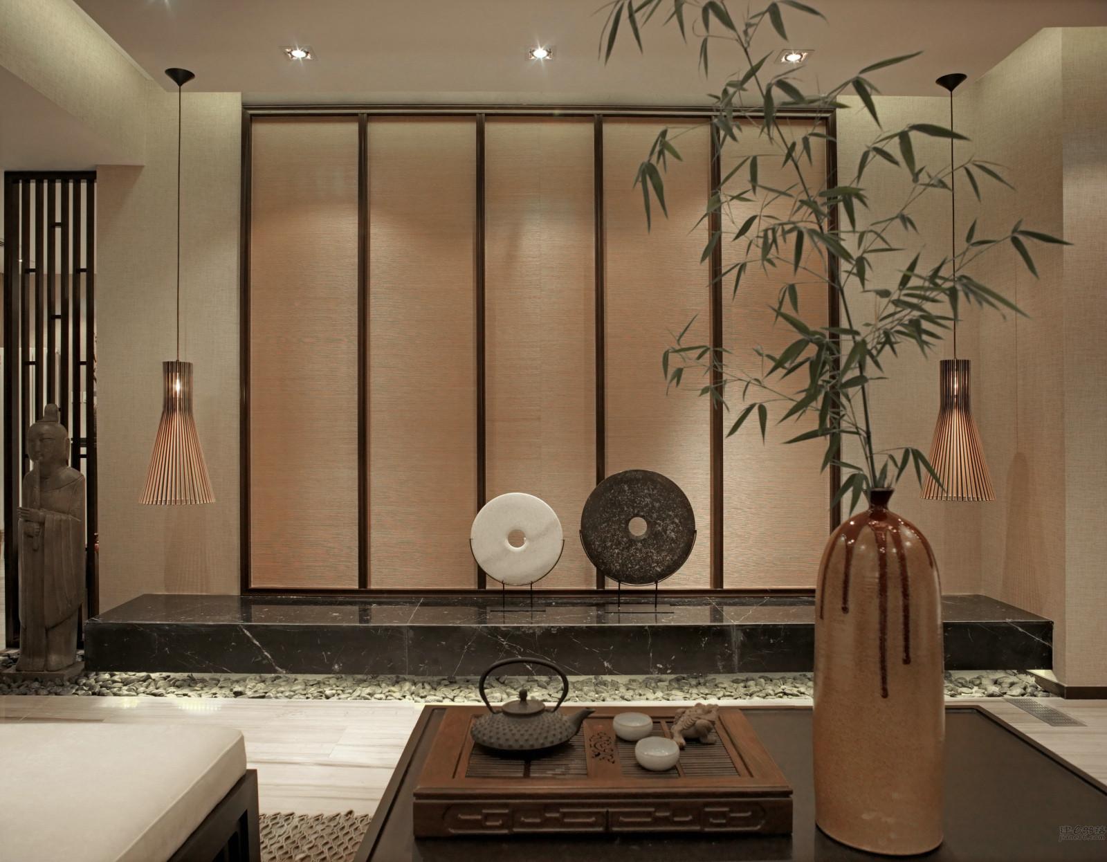 大户型新中式设计背景墙图片