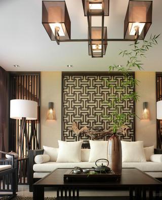 大户型新中式设计沙发背景墙图片