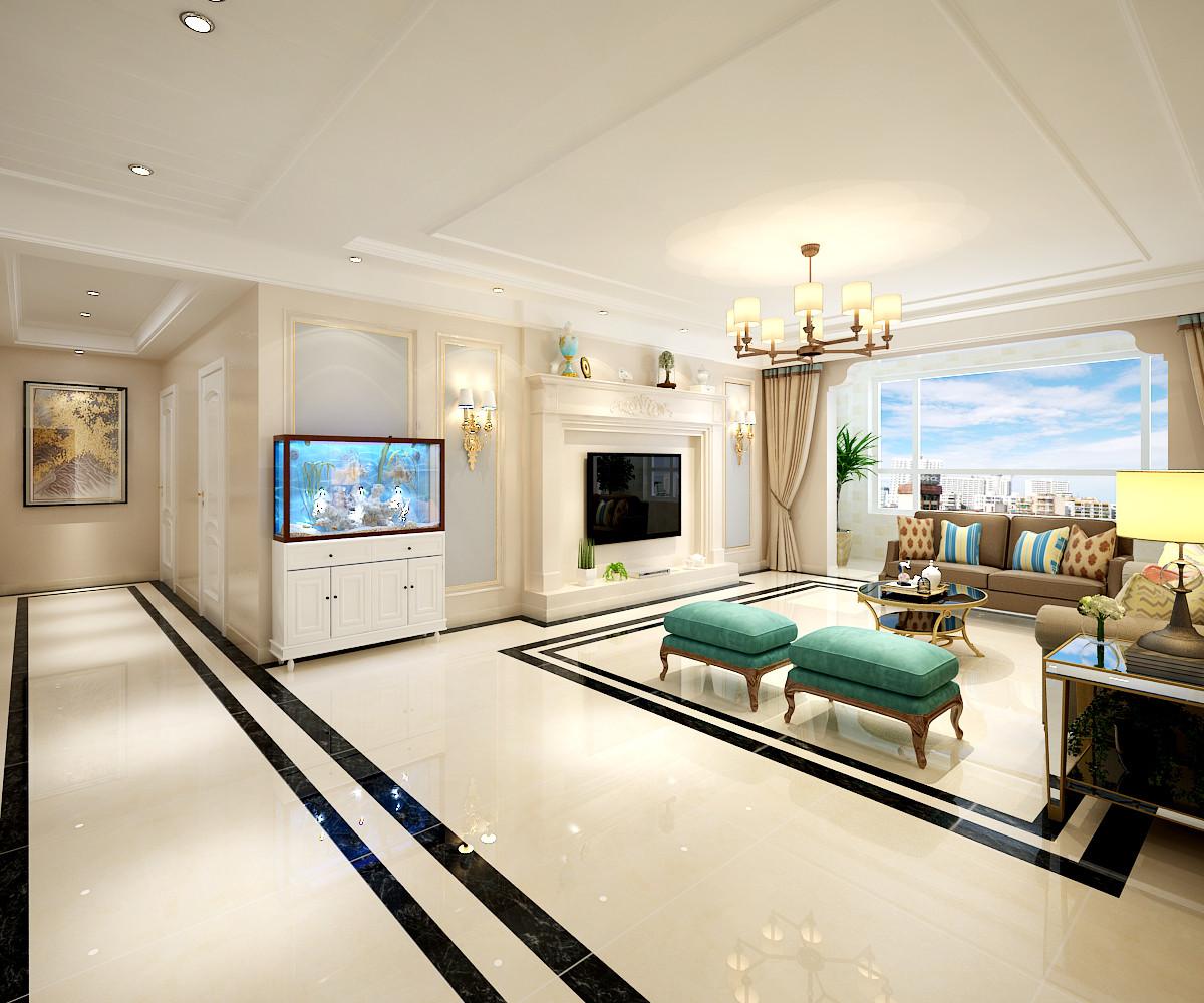 大户型美式混搭装修客厅效果图