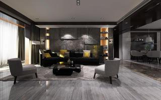 黑白灰调现代风格装修沙发背景墙图片