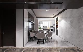 黑白灰调现代风格装修餐厅效果图