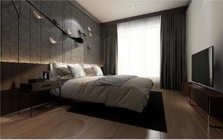 黑白灰调现代风格装修床头背景墙图片