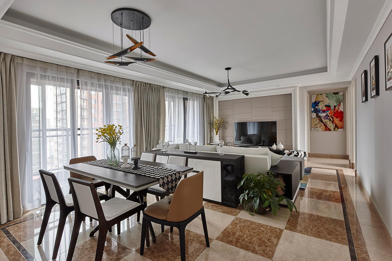 120平现代风格装修餐客厅效果图