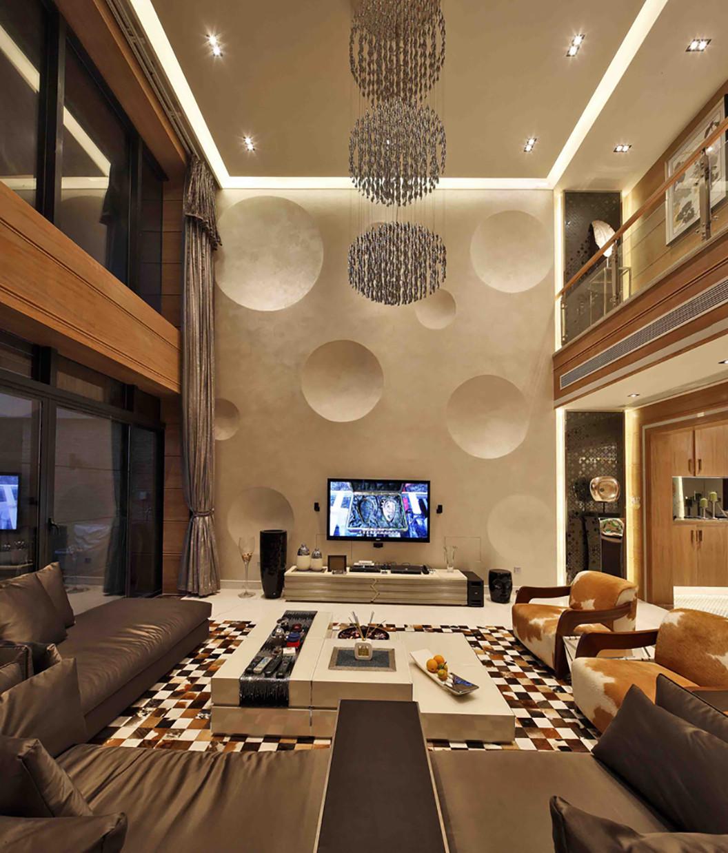 现代别墅装修电视背景墙图片