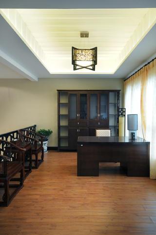 中式风复式装修书房实景图