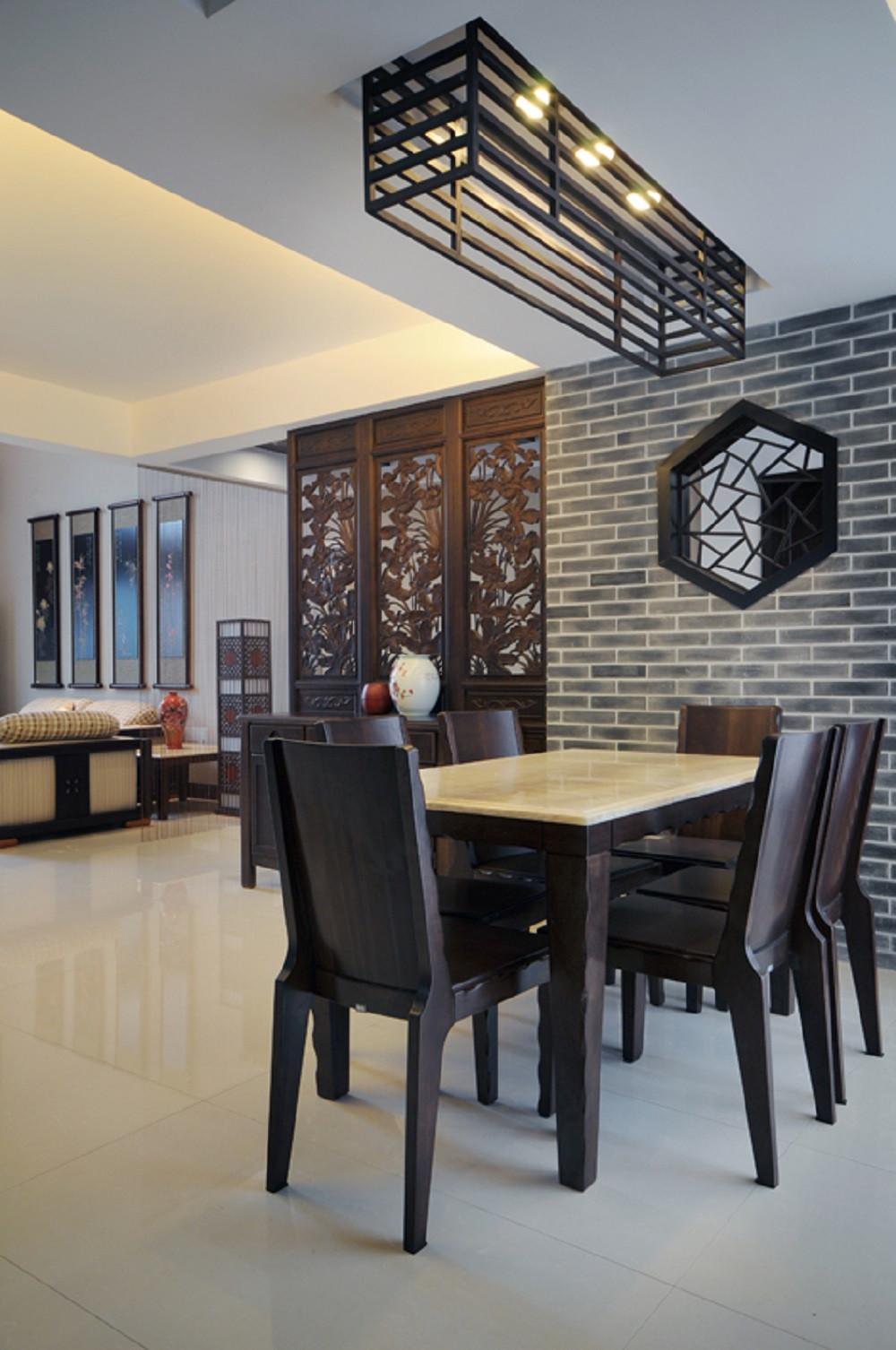 中式风复式装修餐厅效果图