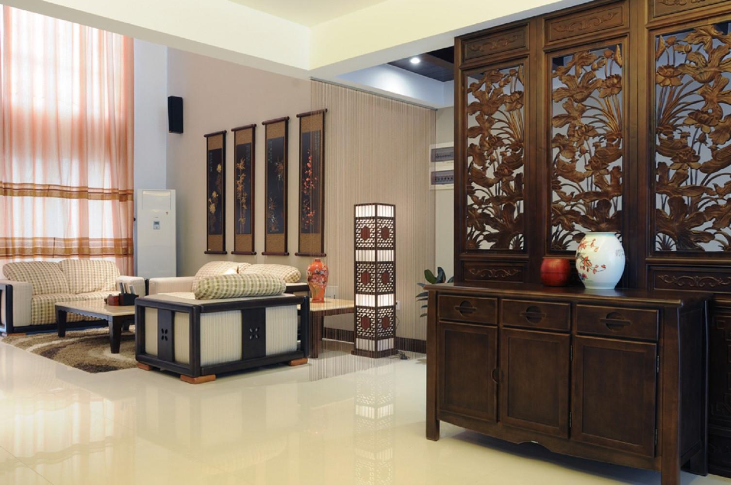 中式风复式装修玄关柜图片