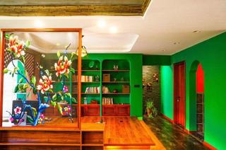 157平东南亚风格装修书房全景图