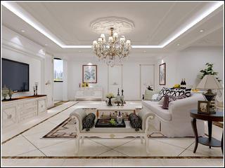 新古典三居装修客厅顶面造型图