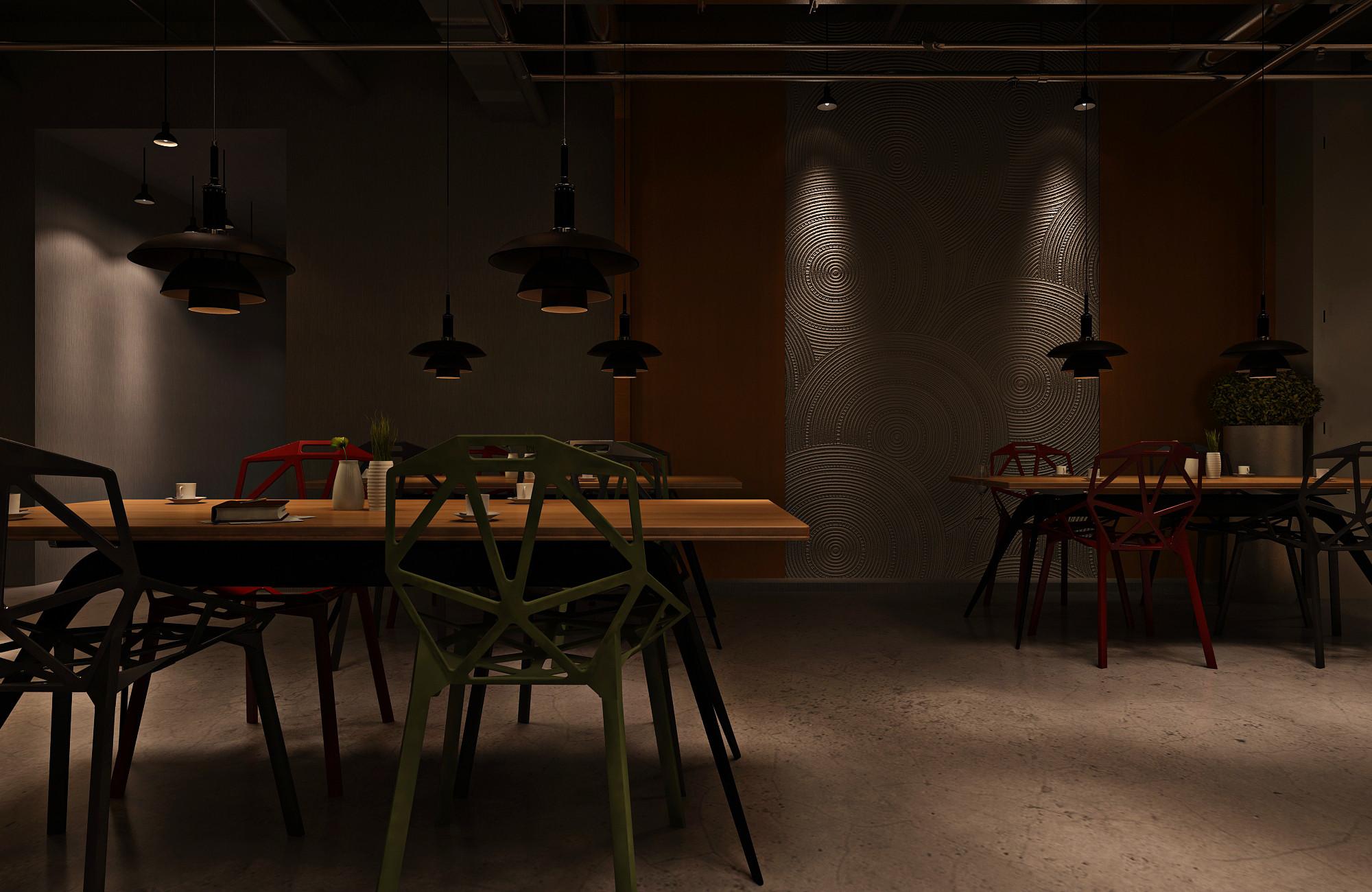 复古工业风酒吧装修灯具图片