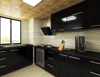 黑白调简约二居装修厨房设计图