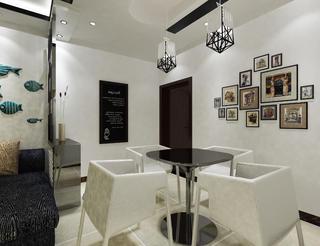 黑白调简约二居装修餐厅背景墙图片