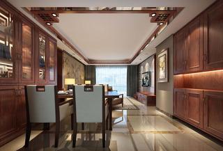 130㎡中式风格装修餐厅效果图
