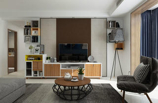 现代简约三居装修电视背景墙图片