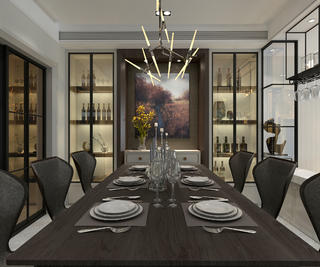 现代简约别墅装修餐桌椅图片