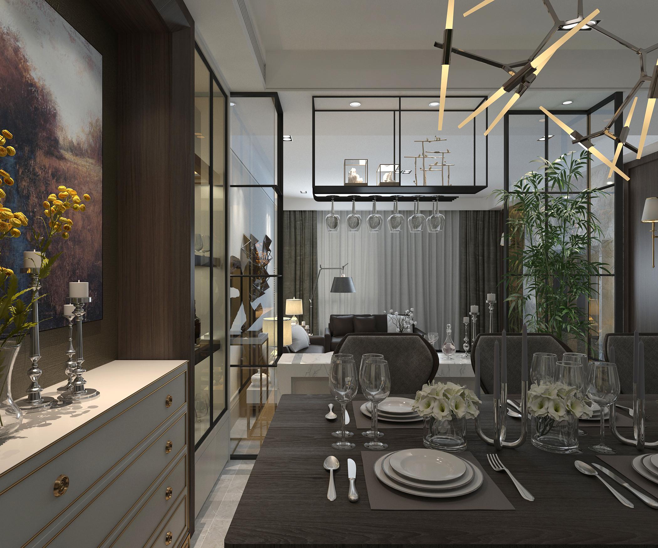 现代简约别墅装修餐边柜图片