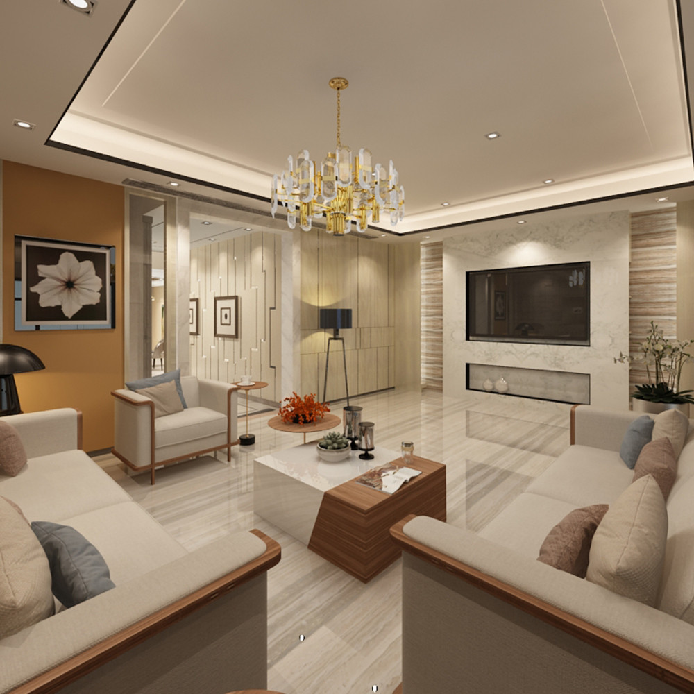 新中式别墅装修客厅布置图