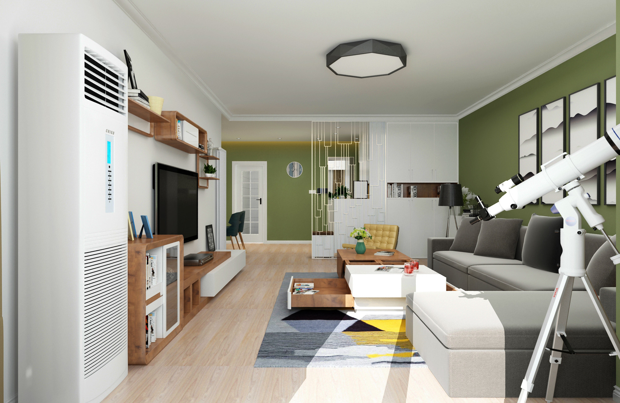 三居室现代简约之家客厅效果图