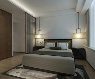 130平中式装修床头背景墙图片