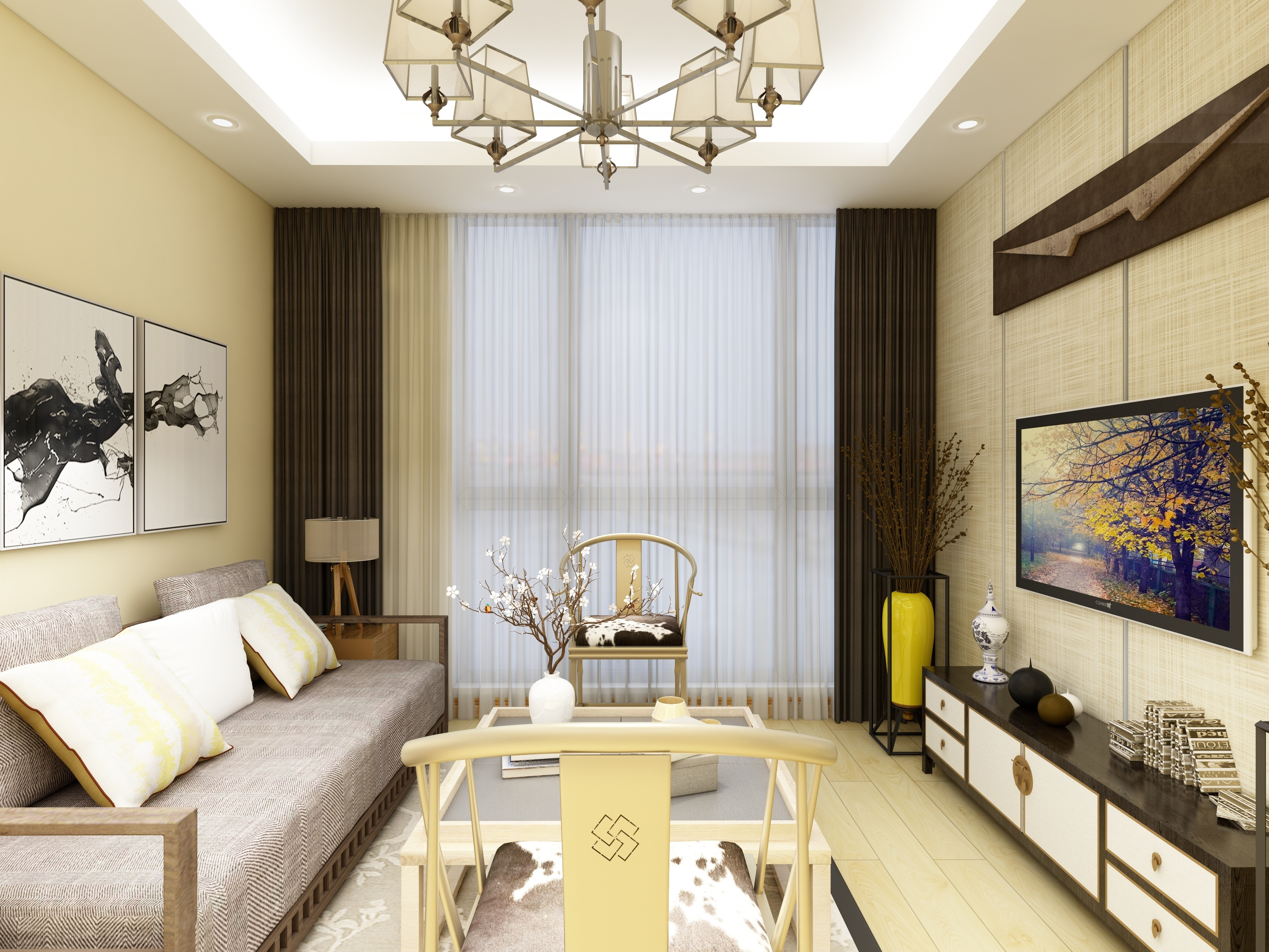 90㎡中式风格家客厅效果图