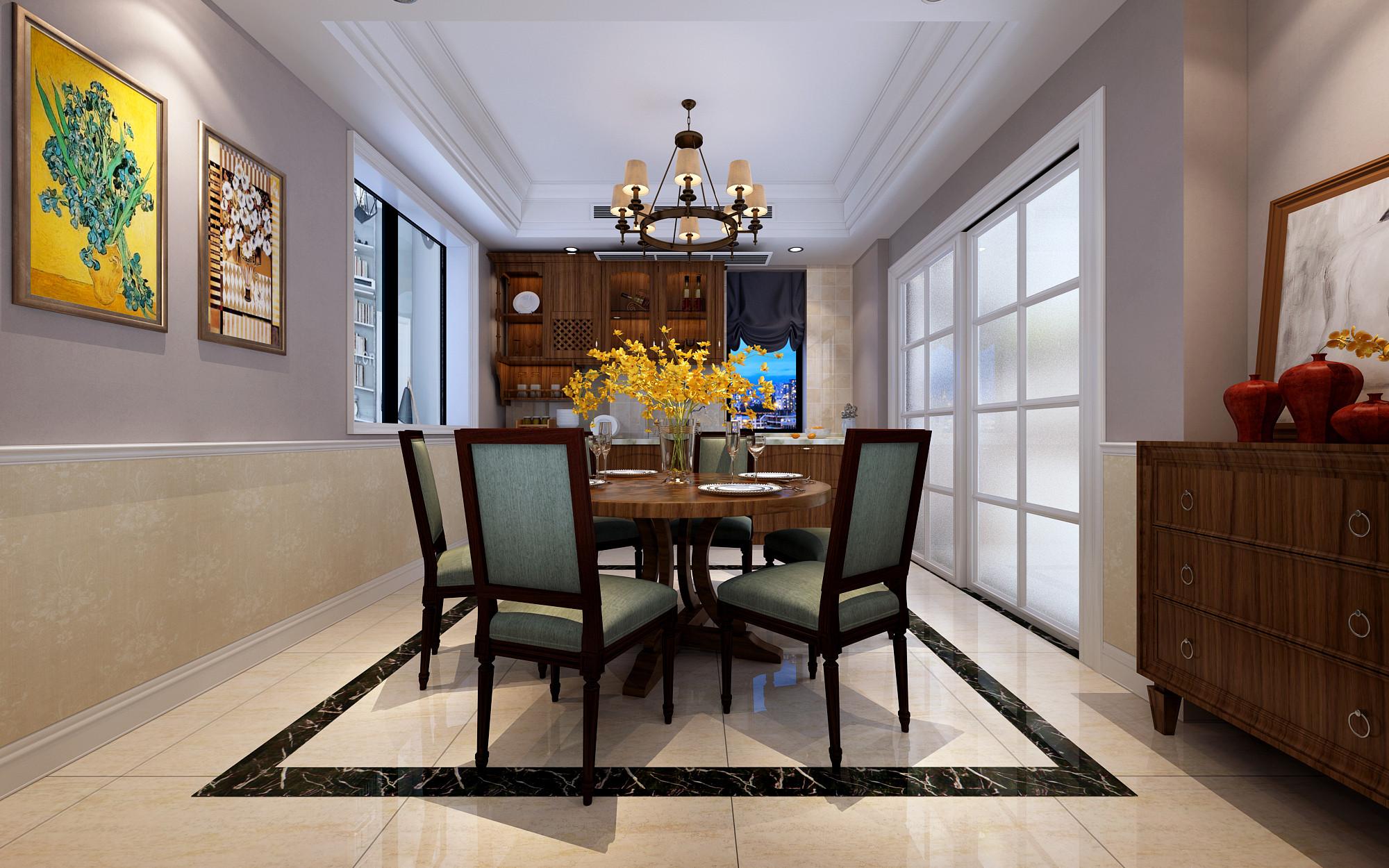 温馨美式别墅装修餐厅效果图