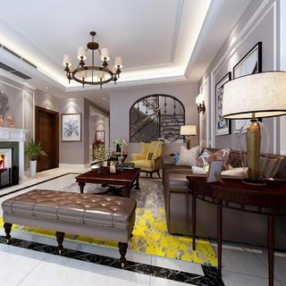 温馨美式别墅亚博唯一授权官网设计效果图