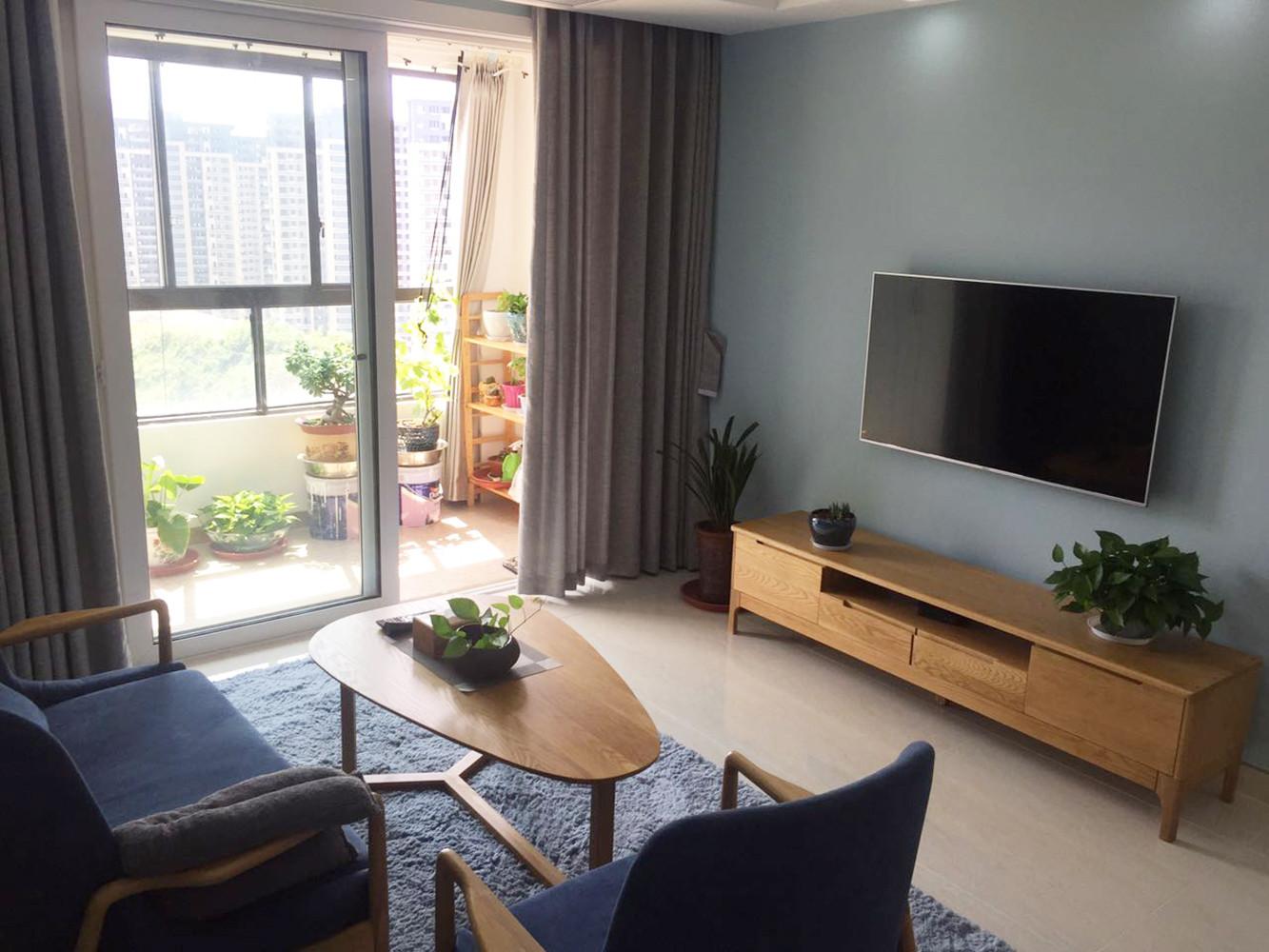 110平北欧风格装修电视背景墙图片