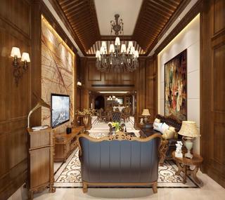 美式别墅装修客厅效果图