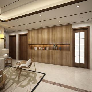 140平新中式设计客厅过道