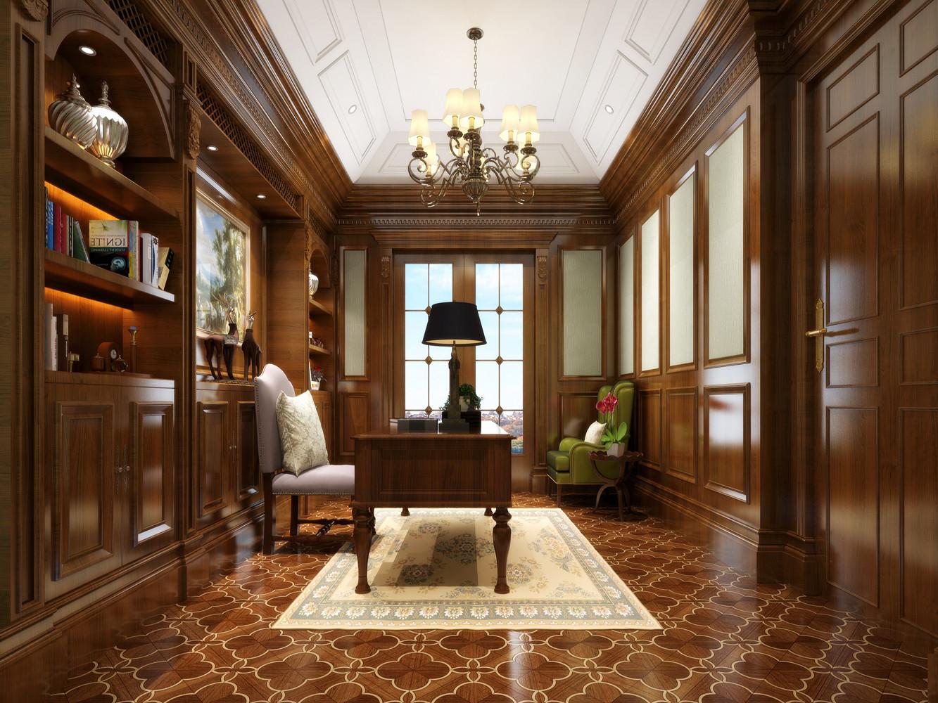 美式别墅装修书房欣赏图