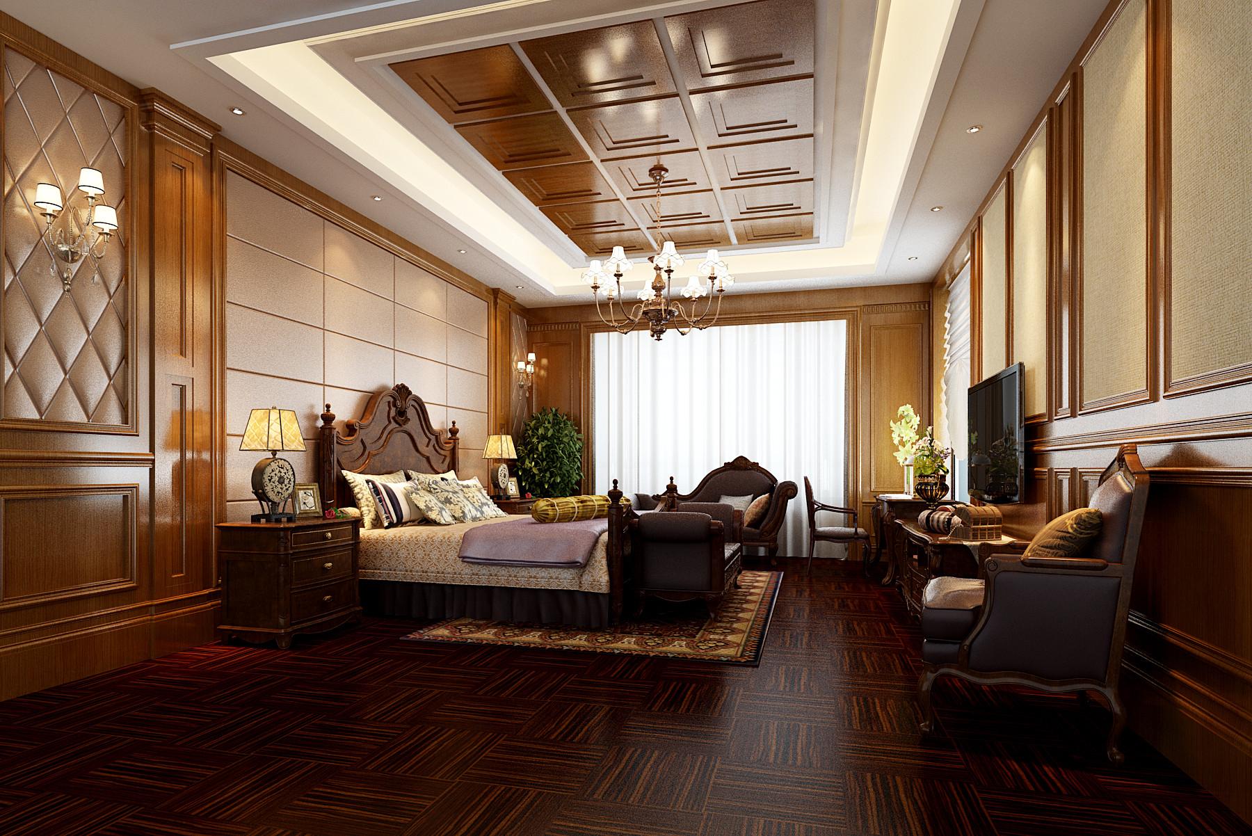 美式豪华四房装修主卧设计图