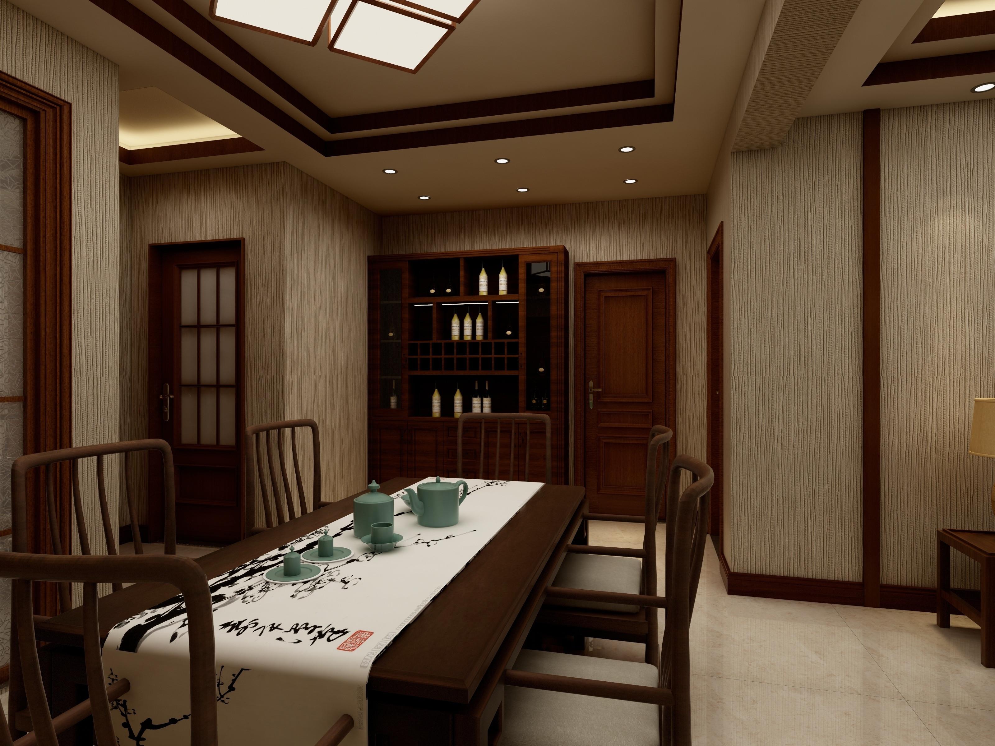 简约中式装修餐厅效果图