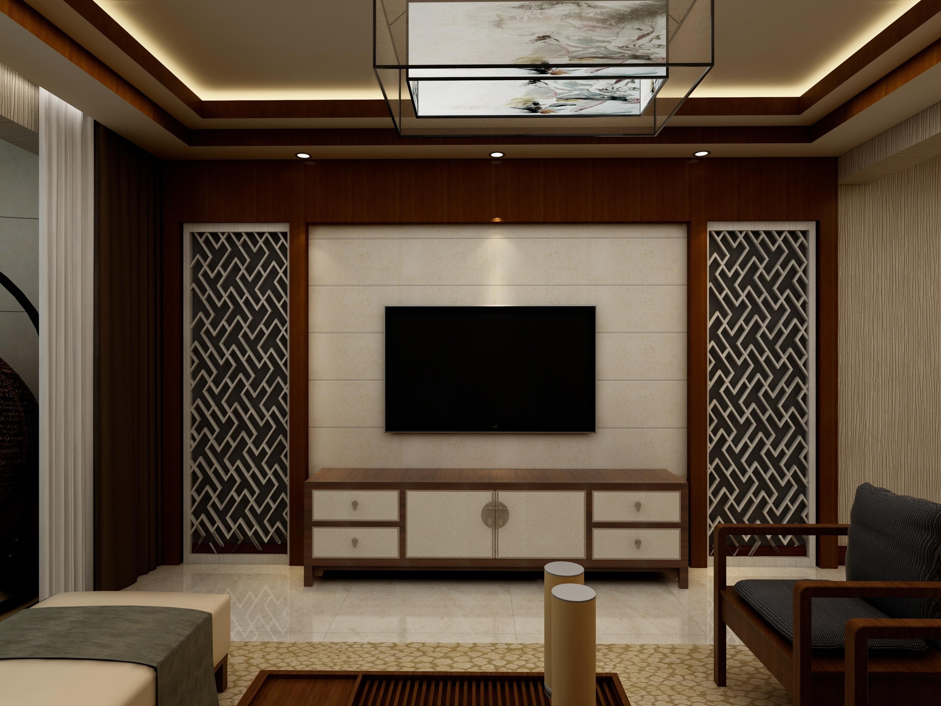 简约中式装修电视背景墙图片