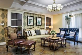 美式四居装修沙发背景墙图片
