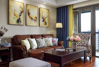 140平美式风格装修沙发背景墙图片