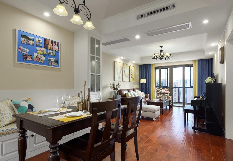 140平美式风格装修餐厅背景墙图片