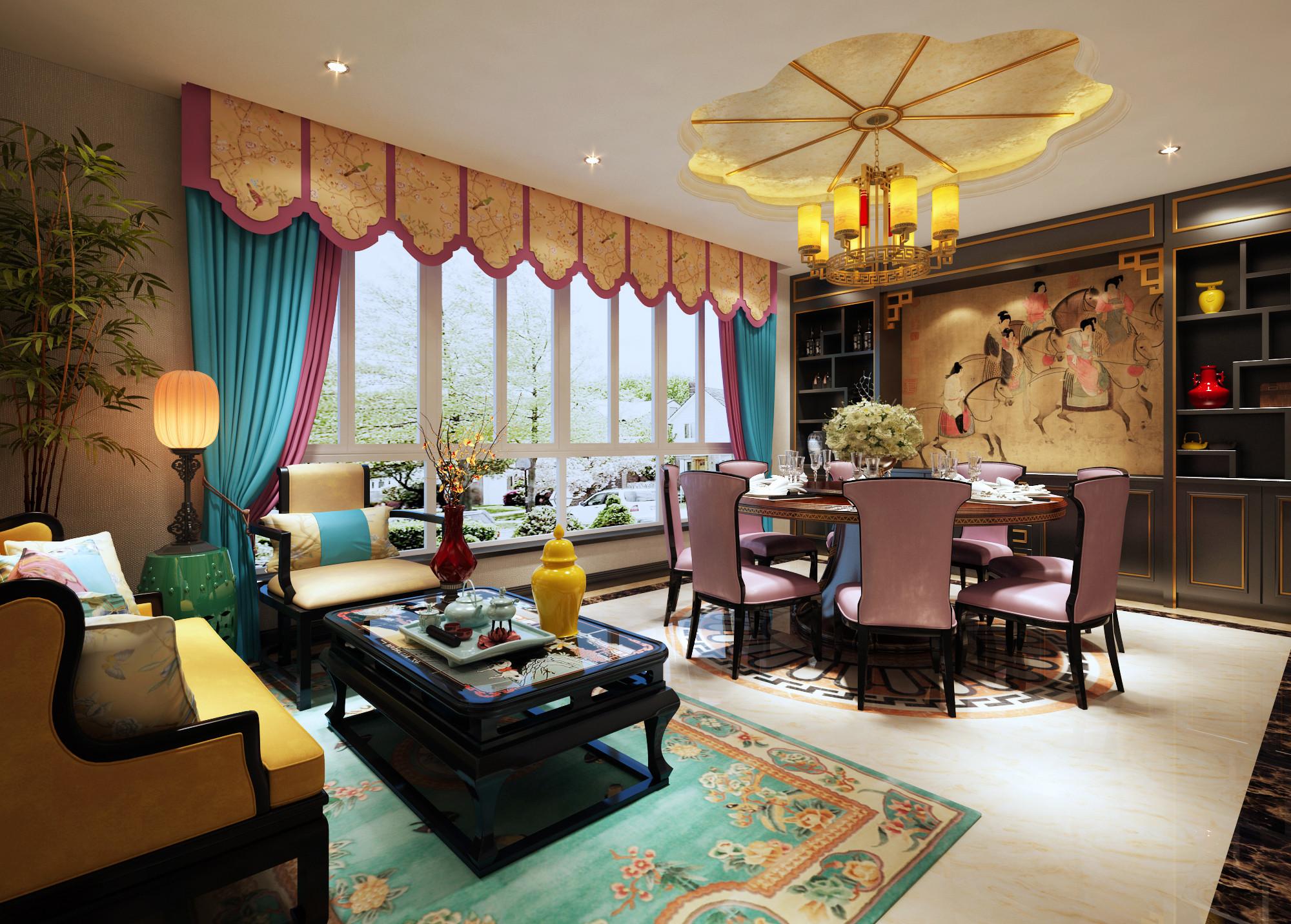 豪华新中式装修餐厅效果图