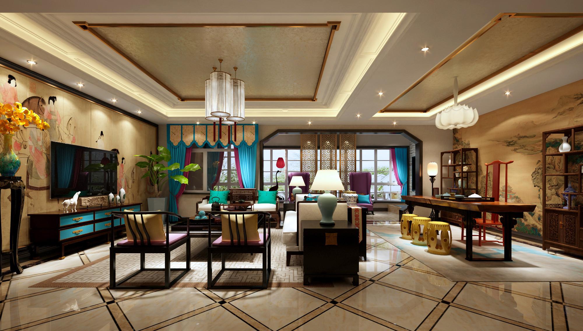 豪华新中式装修客厅效果图
