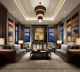 豪华中式客厅设计图
