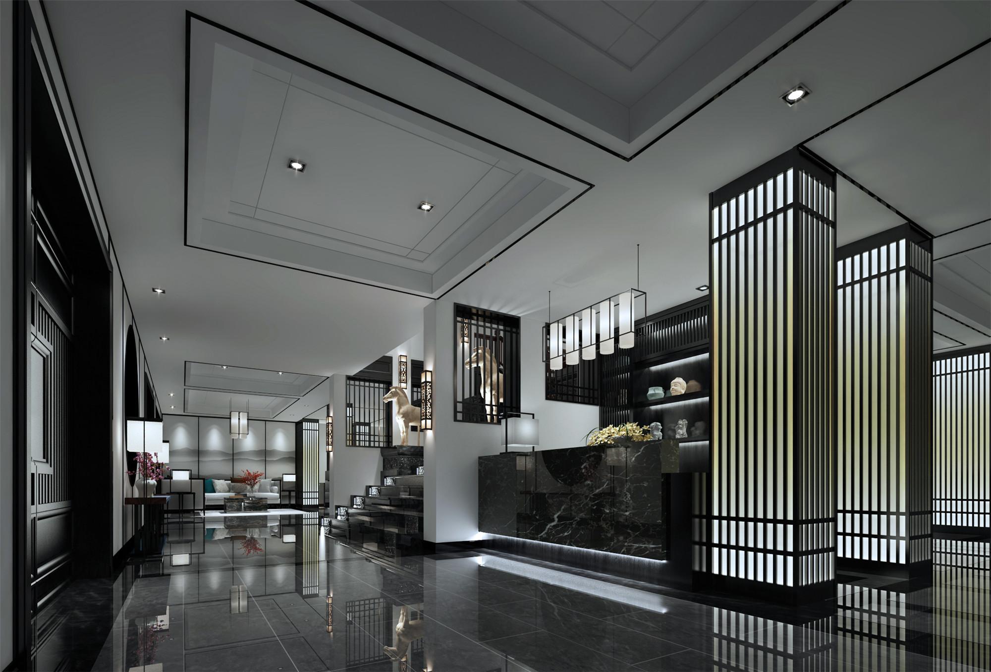 中式别墅装修展厅过道