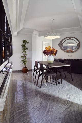 90平混搭装修餐厅顶面造型设计