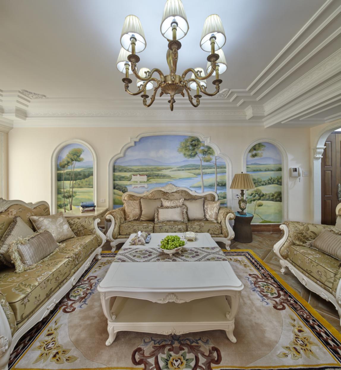 欧式四居室装修沙发背景墙图片