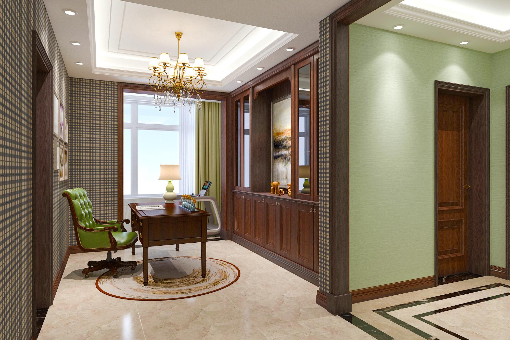 大户型美式风格装修书房设计图