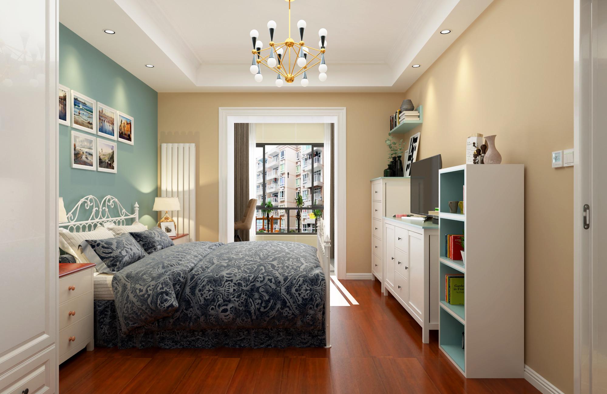 63平二居室混搭装修卧室背景墙图片